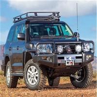 200 Series Land Cruiser Front Deluxe Bull Bar Winch Mount Bumper - Black