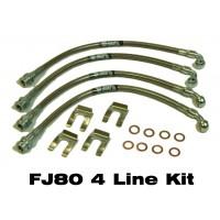 IPOR Stainless Steel Caliper Brake Line Kit,  FJ80, 93-97, Front & Rear